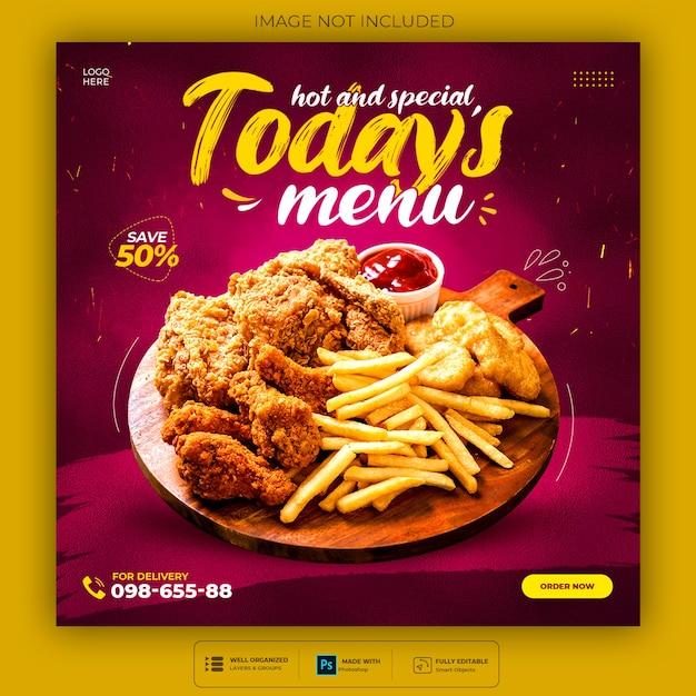 Heerlijk eten menu en restaurant social media postsjabloon Gratis Psd