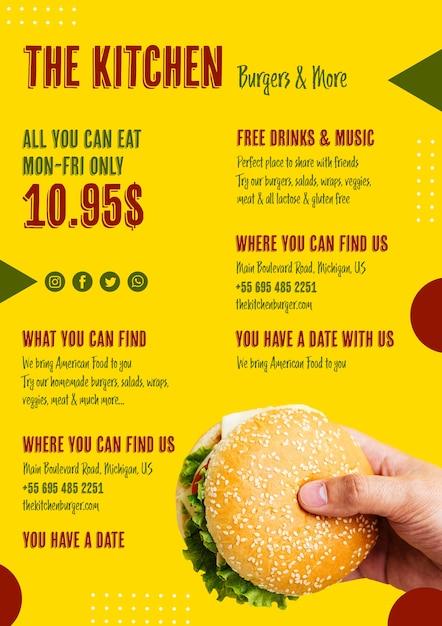Heerlijke amerikaanse hamburger menusjabloon Gratis Psd