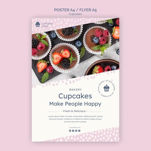 Heerlijke cupcakes poster sjabloon met foto Gratis Psd