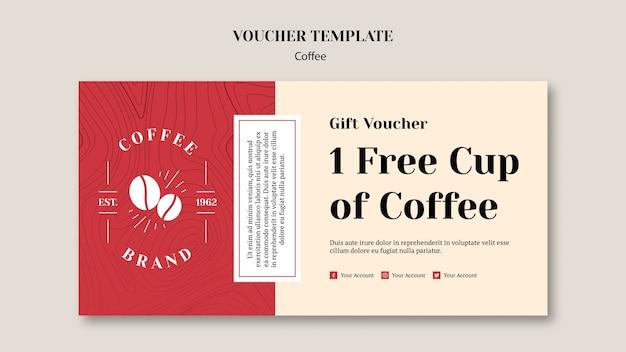 Heerlijke koffievoucher sjabloon Gratis Psd