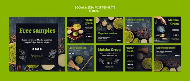 Heerlijke matcha thee sociale media post sjabloon Gratis Psd