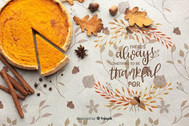 Heerlijke taart bereid voor thanksgiving day Gratis Psd