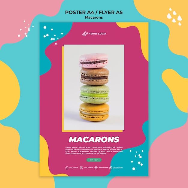Heerlijke zoete macarons flyer-sjabloon Gratis Psd
