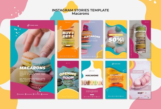 Heerlijke zoete macarons instagramverhalen Gratis Psd