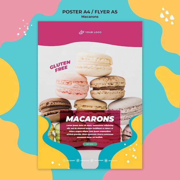 Heerlijke zoete macarons poster sjabloon Gratis Psd