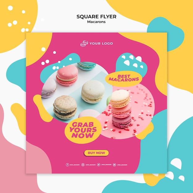 Heerlijke zoete macarons vierkante flyer-sjabloon Gratis Psd