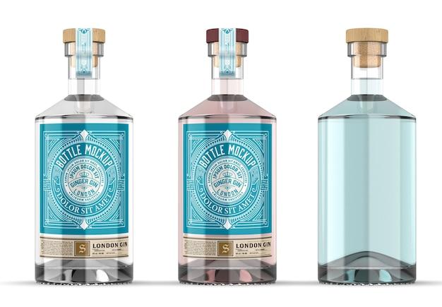 Helder glas gin fles mockup geïsoleerd Premium Psd
