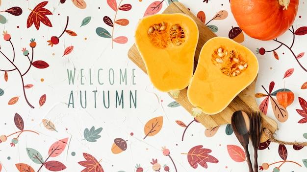 Helften pompoen met welkom herfst Gratis Psd