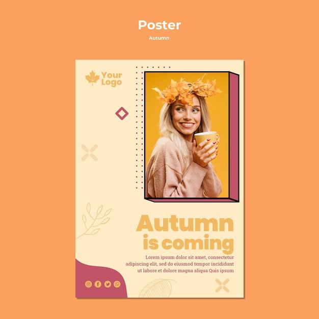 Herfst concept poster sjabloon Gratis Psd