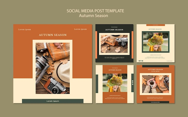 Herfst concept sociale media post sjabloon Gratis Psd