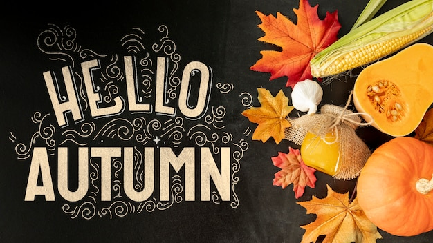 Herfst groenten met hallo herfst citaat Gratis Psd