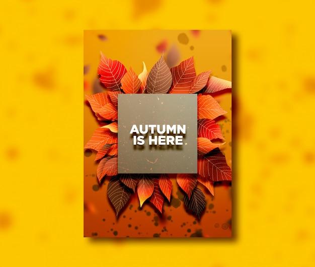 Herfst seizoen één zijkaart met bladeren Premium Psd