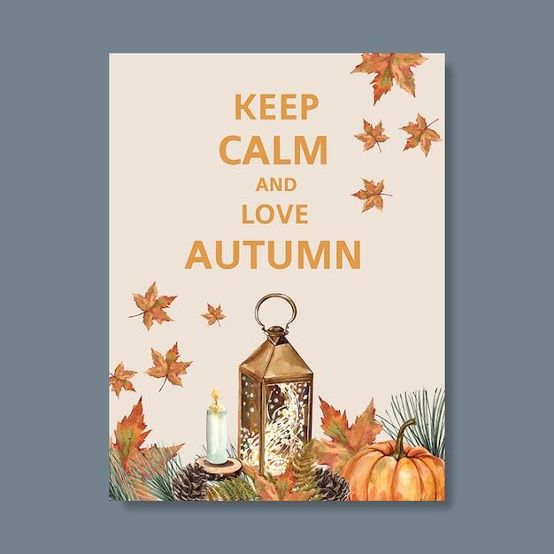 Herfst thema poster met levendige gebladerte sjabloon Gratis Psd