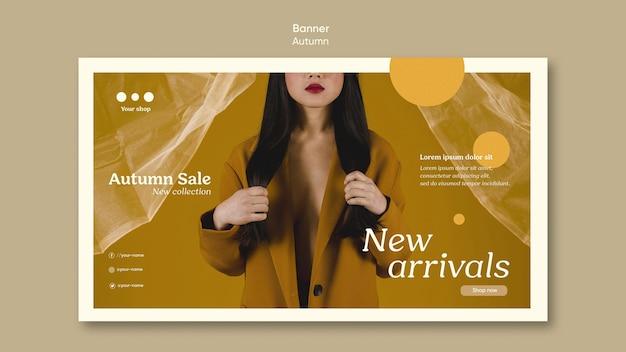 Herfst verkoop nieuwkomers sjabloon voor spandoek Gratis Psd