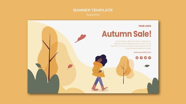 Herfst verkoop sjabloon voor spandoek Gratis Psd