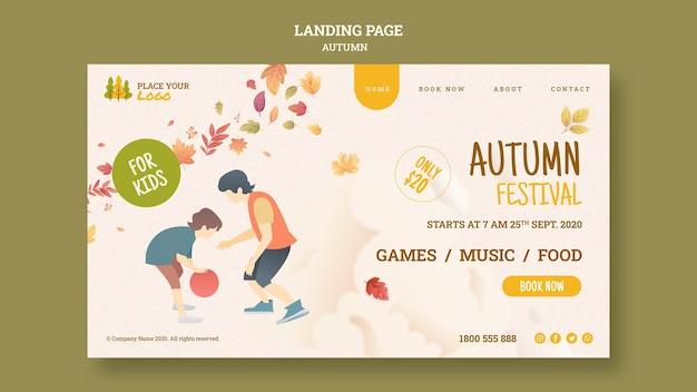 Herfstfestival voor bestemmingspagina voor kinderen Gratis Psd