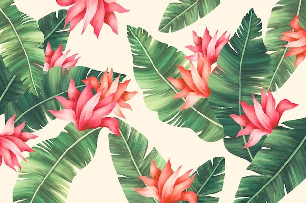 Hermosa impresión de verano con hojas de palmera PSD gratuito