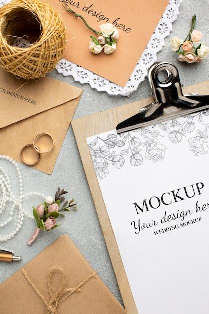 Hermosa maqueta de concepto de boda PSD gratuito