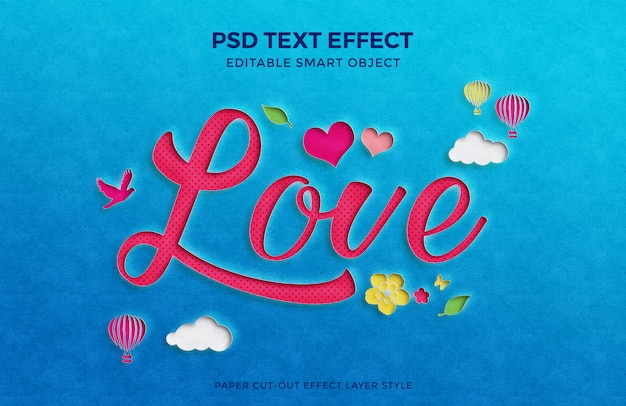 Hermosa maqueta de efecto de texto recortado de papel de amor con múltiples elementos. PSD Premium