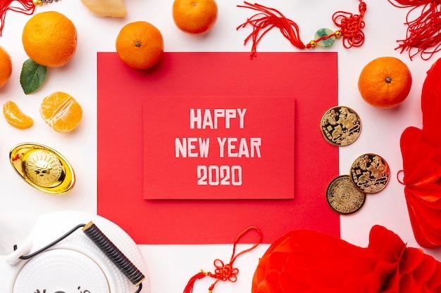 Hermosa maqueta feliz año nuevo chino PSD gratuito