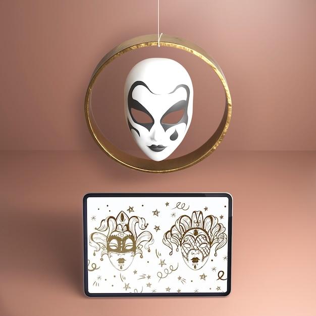 Hermosa máscara blanca de alta vista con diseño negro PSD gratuito