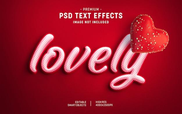 Hermosa plantilla de efecto de texto de san valentín PSD Premium