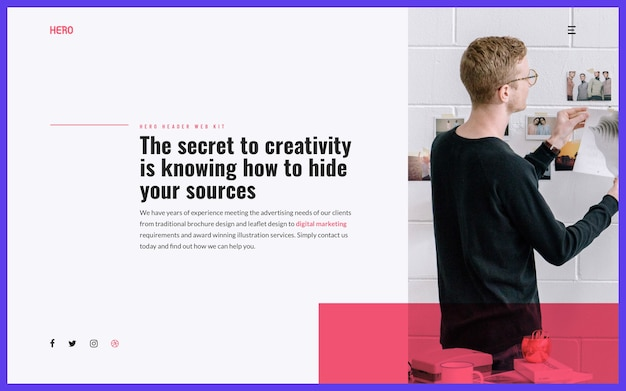 Hero header creative Psd Premium