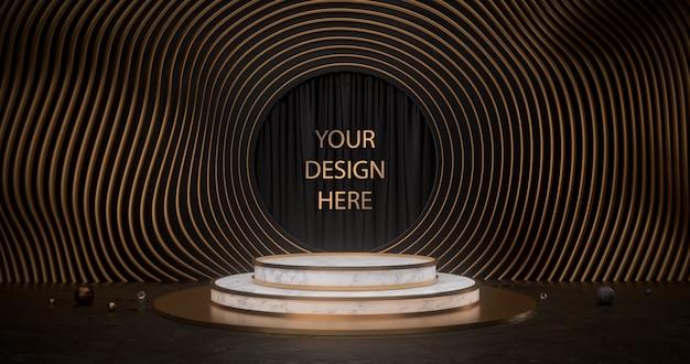 Het 3d teruggeven van wit marmeren voetstuk met gouden cirkels Premium Psd