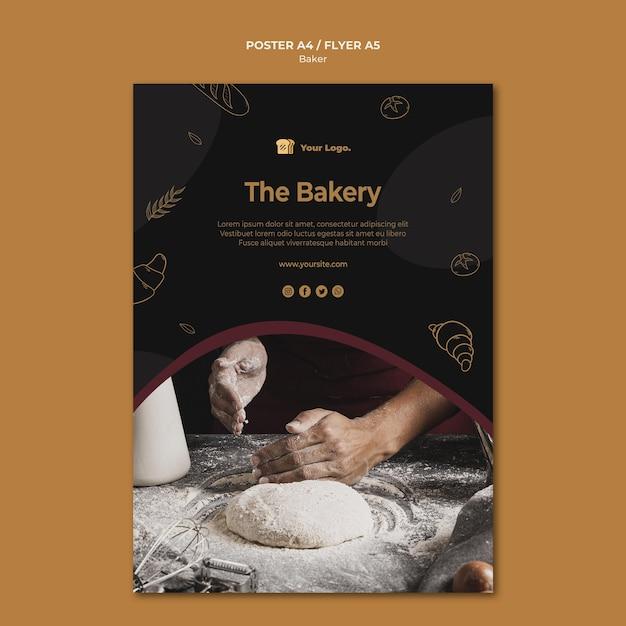 Het concept van de bakkerij-flyer-sjabloon Gratis Psd