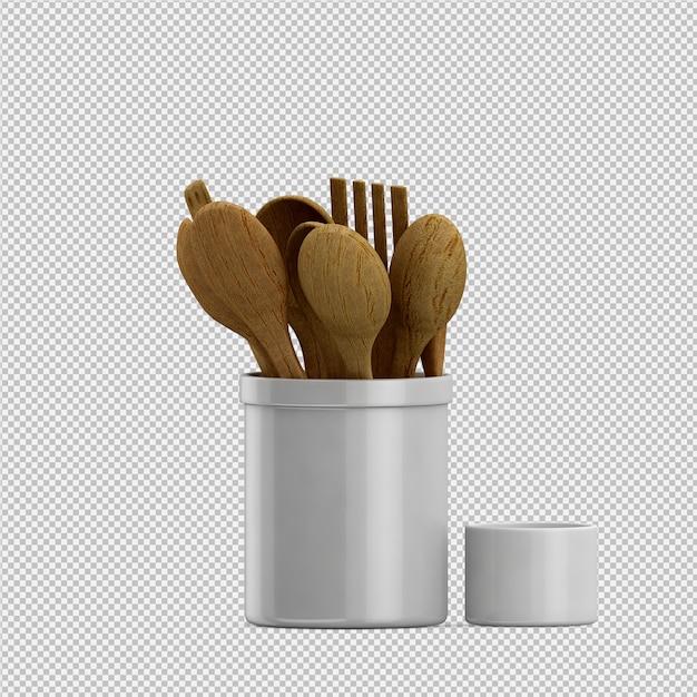 Het isometrische 3d keukengerei geeft terug Premium Psd