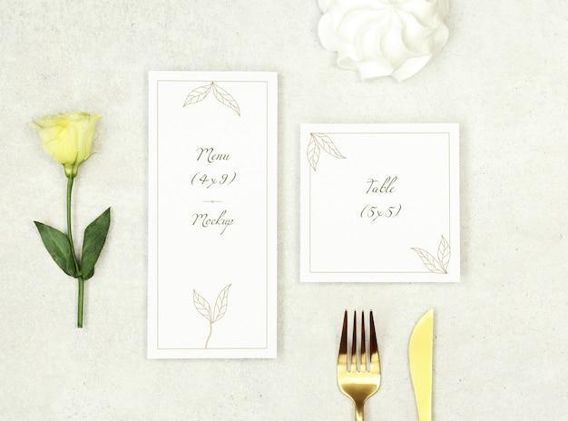 Het menu van het modelhuwelijk en dankt u kaardt op grijze achtergrond Premium Psd