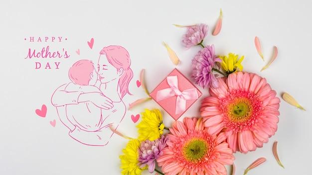 Het model van de moederdag met copyspace Gratis Psd
