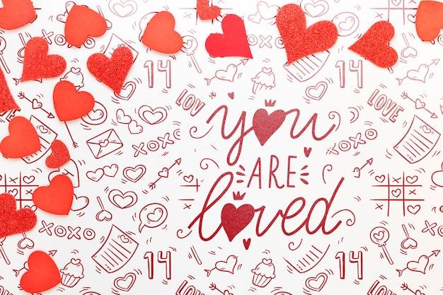 Het model van het de dagconcept van de mooie valentijnskaart Gratis Psd