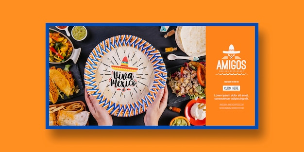 Het model van voedselbanners met het concept van mexico Gratis Psd
