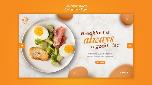 Het ontbijt is altijd een goede bestemmingspagina-sjabloon Gratis Psd