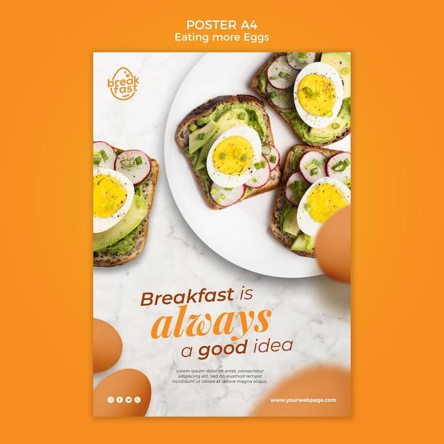 Het ontbijt is altijd een goede postersjabloon Gratis Psd