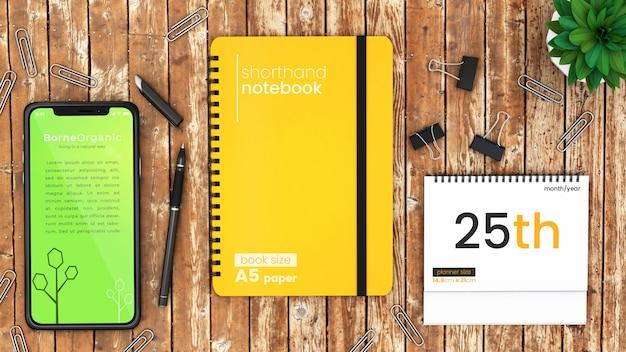 Het scènemodel van de pixel perfect modern bureau van iphone x, notitieboekje en desktopontwerper op de rustieke houten omhoog spot van de lijst hoogste psd Premium Psd