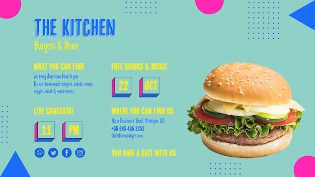 Het smakelijke amerikaanse menu van de hamburgerkeuken Gratis Psd