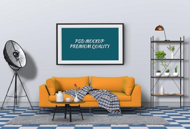 Het spot op affichekader in binnenlandse 3d woonkamer en bank, geeft terug Premium Psd