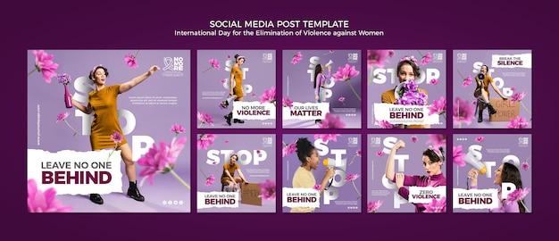 Het uitbannen van geweld tegen posts op sociale media van vrouwen Premium Psd
