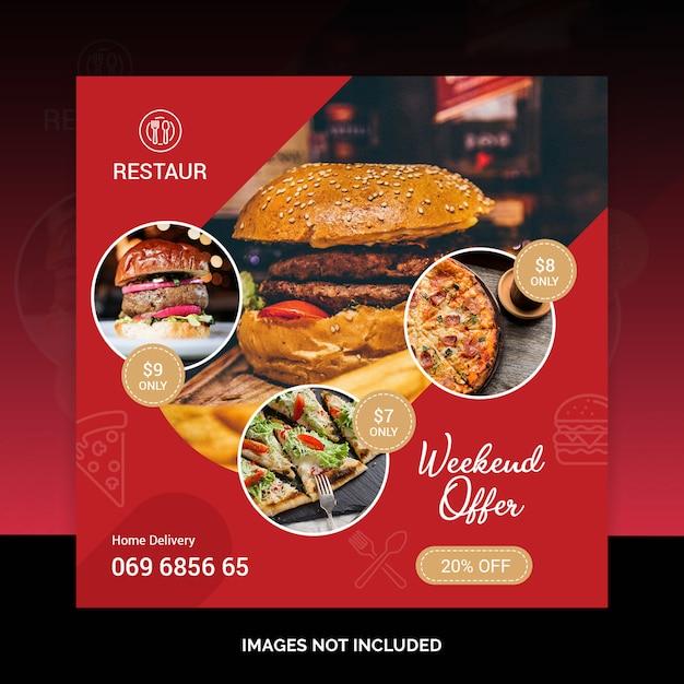 Het voedsel sociale media van het restaurant na bannermalplaatje psd Premium Psd