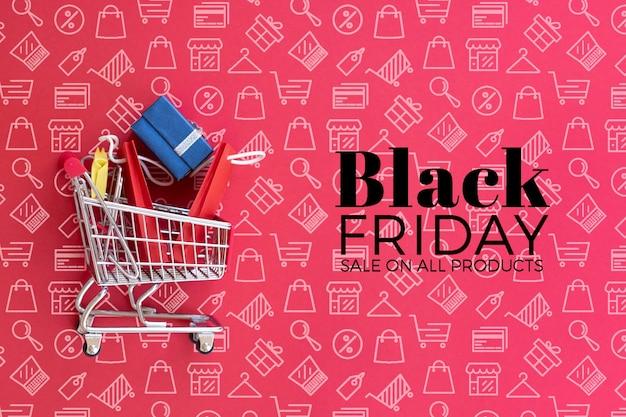Het zwarte model van het vrijdagconcept op duidelijke achtergrond Gratis Psd