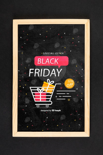 Het zwarte model van het vrijdagconcept op zwarte achtergrond Gratis Psd