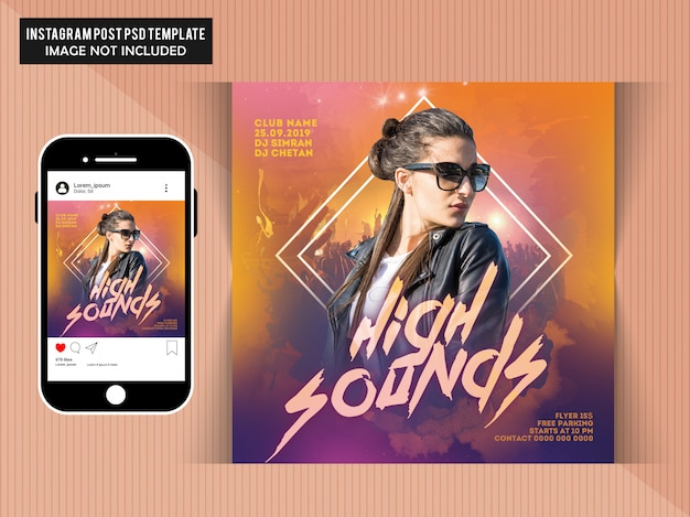 High sounds instagram post Premium Psd