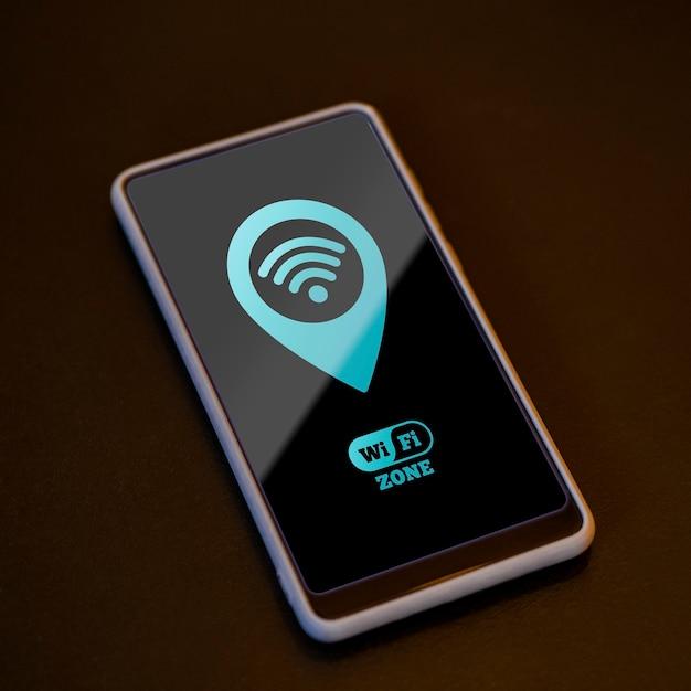 High-view smartphone met 5g connectiviteit Gratis Psd