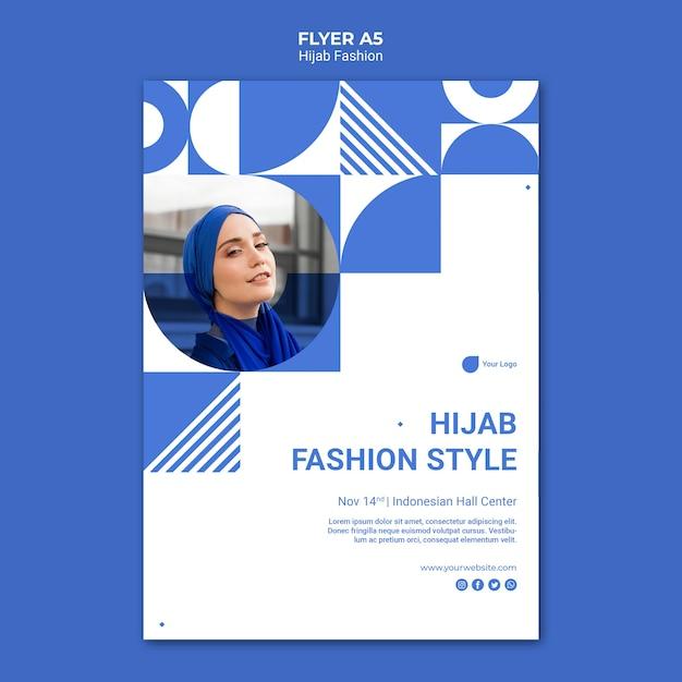 Hijab fashion flyer-sjabloon Gratis Psd