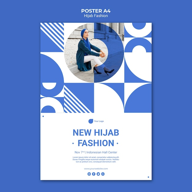 Hijab mode poster sjabloon met foto Gratis Psd
