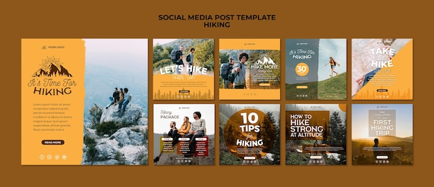 Hike modello di post sui social media Psd Gratuite