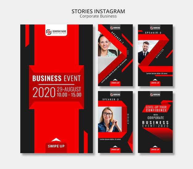 Historias abstractas de instagram de negocios PSD gratuito