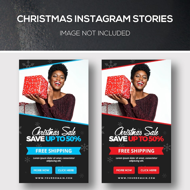 Historias navideñas de instagram PSD Premium